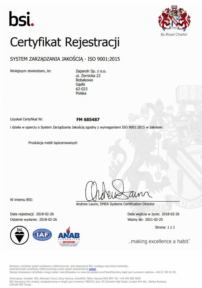 certyfikat ISO 9001:2015 dla Zaparoh