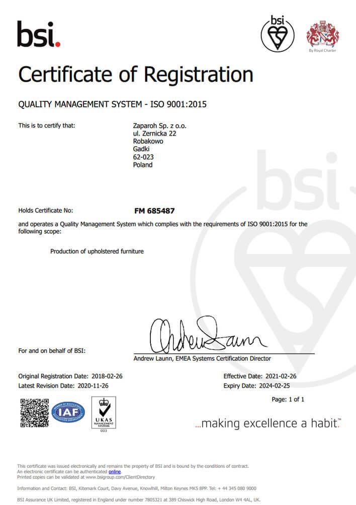 certyficate ISO 9001:2015 for Zaparoh